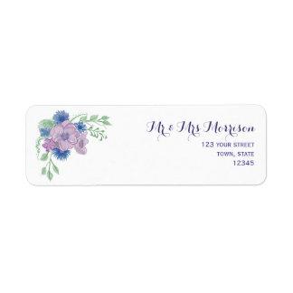 Floral Vintage Watercolor Elegant Romantic Wedding Return Address Label