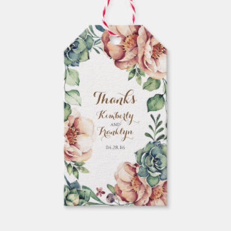 floral vintage watercolor fall ivory wedding gift tags