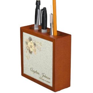 Floral Vintage Watercolor Golden Rustic Elegant Desk Organiser