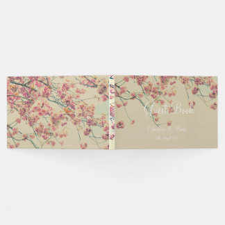 Floral vintage wedding guest book with cherry tree