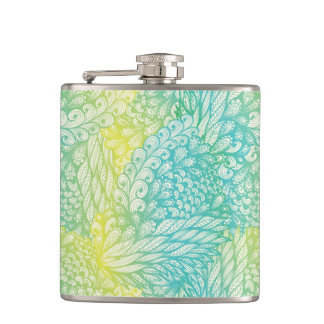 Floral Vintage Yellow And Blue Gradient Hip Flask