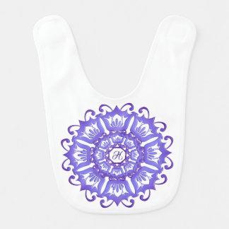Floral violet mandala. Monogram. Bib