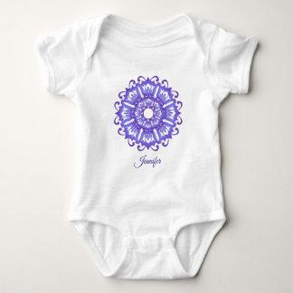 Floral violet mandala.Name. Baby Bodysuit