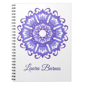 Floral violet mandala. Name. Notebook