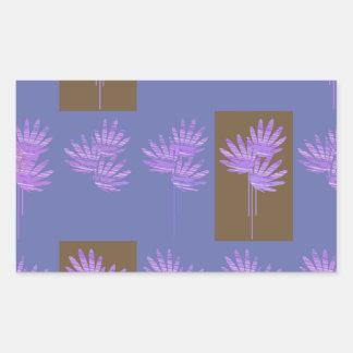 floral violet rectangular sticker