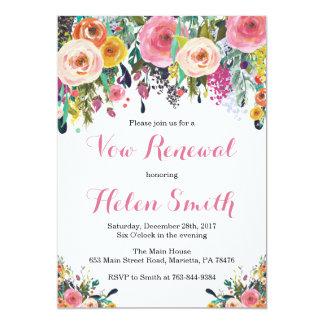 Floral Vow Renewal Invitation Card