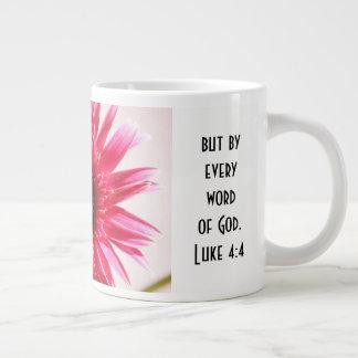 Floral w/ Scripture Verse, Pink Gerbera Daisy Giant Coffee Mug
