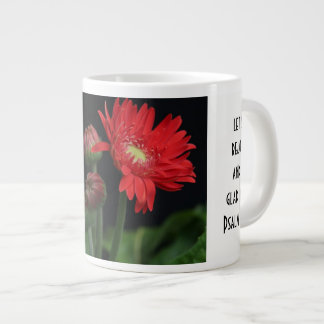 Floral w/ Scripture Verse, Red Gerbera Daisy Large Coffee Mug