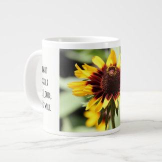 Floral w/ Scripture Verse, Yellow Daisy Large Coffee Mug