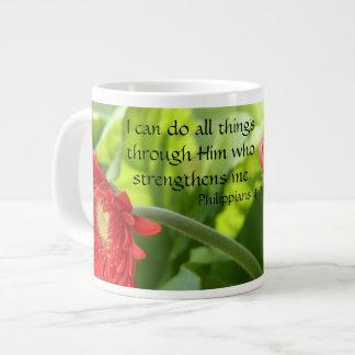 Floral w/ Verse, I can do all things through Him.. Jumbo Mug