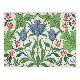 Floral wallpaper design postcard
