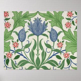 Floral wallpaper design posters