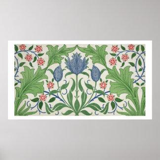Floral wallpaper design poster