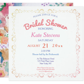 Floral Water color Bridal Shower Card
