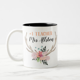 Floral Watercolor #1 Teacher Name Gift Mug