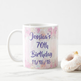 Floral Watercolor 70th Birthday Coffee Mug