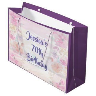 Floral Watercolor 70th Birthday Large Gift Bag