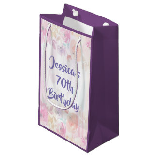 Floral Watercolor 70th Birthday Small Gift Bag
