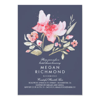 Floral Watercolor Botanical Bridal Shower Navy Card
