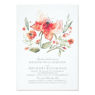 Floral Watercolor Botanical Wedding Card