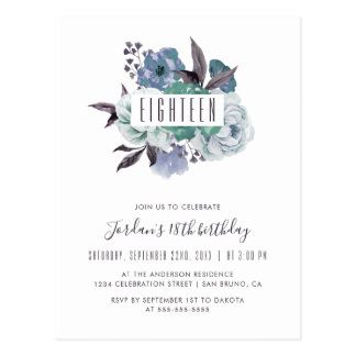 Floral Watercolor Bouquet 18th Birthday Invitation Postcard
