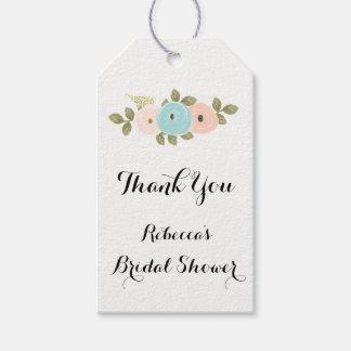 Floral Watercolor Bridal Shower Gift Favor Tag