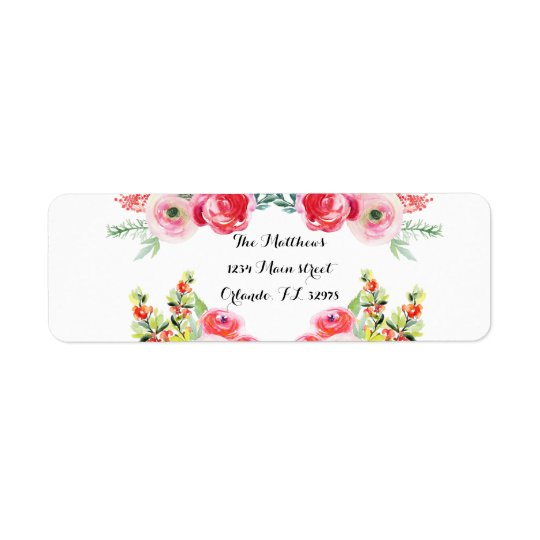 Floral Watercolor Bridal Shower Return Labels