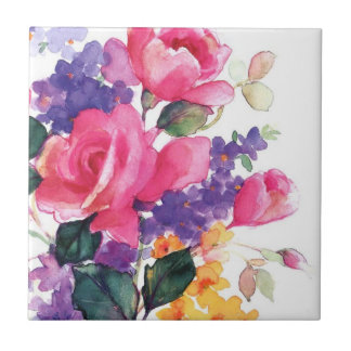 Floral watercolor ceramic coasters