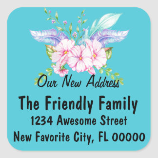 Floral Watercolor Change of Address Stickers