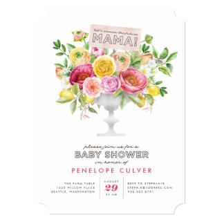 Floral Watercolor Compote Baby Shower Invitation