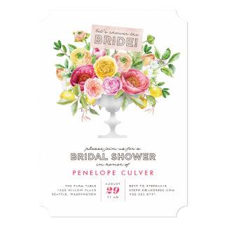 Floral Watercolor Compote Bridal Shower Invitation