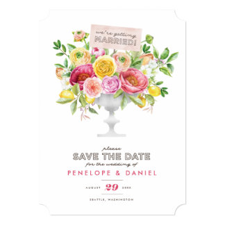 Floral Watercolor Compote Save the Date 13 Cm X 18 Cm Invitation Card