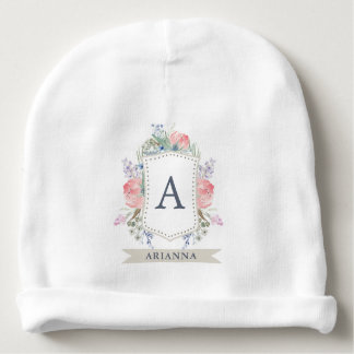 Floral Watercolor Crest with Monogram Baby Beanie