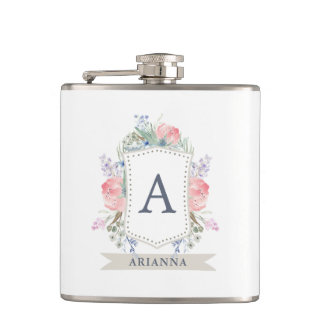 Floral Watercolor Crest with Monogram Hip Flask