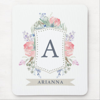 Floral Watercolor Crest with Monogram Mouse Pad
