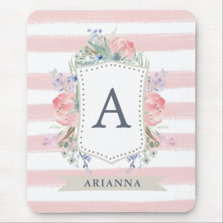 Floral Watercolor Crest with Monogram | Stripe Mouse Pad