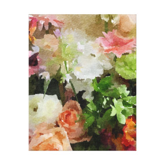 Floral Watercolor in Peach & Green Canvas Print