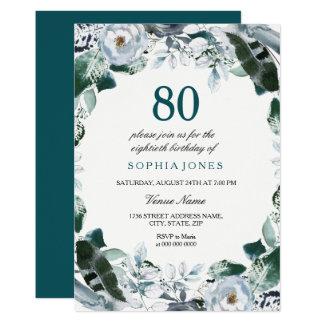 Floral Watercolor Jade Green 80th Birthday Invite
