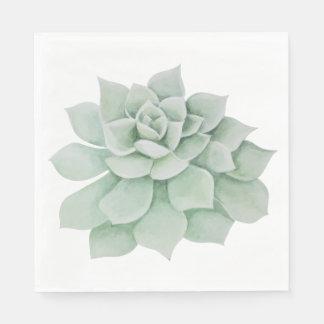 Floral Watercolor Mint Green Succulent Cactus Disposable Napkin
