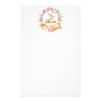 Floral Watercolor Mom and Baby Deer Shower Note Stationery