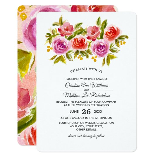 Floral Watercolor Painting Wedding Invitations