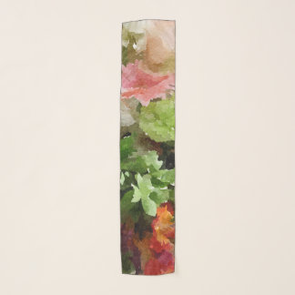 Floral Watercolor Peach Pink and Green Scarf
