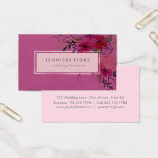 Floral Watercolor Pink | Wedding Event Planner Business Card