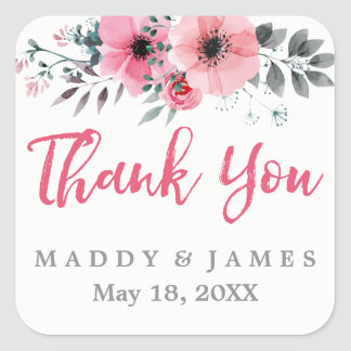 Floral Watercolor Poppies Wedding Thank You Square Sticker