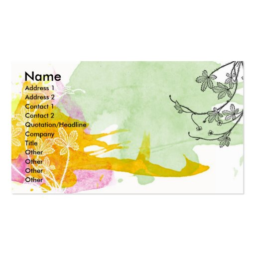 Floral Watercolor Profile Card Business Card Template