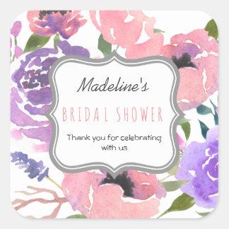 Floral Watercolor Purple Rose Bridal Shower Favor Square Sticker