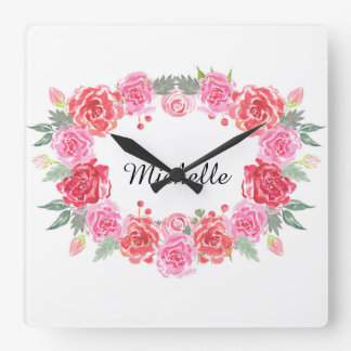 Floral watercolor rose wreath name wall clocks