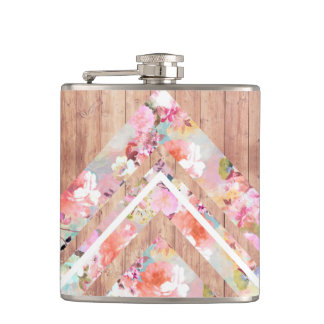 Floral watercolor rustic brown wood geometric hip flask