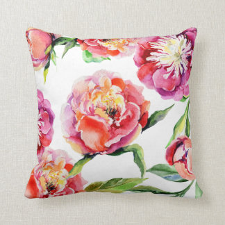 Floral watercolor scarlet red blush pink peonies cushion