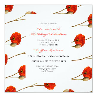 Floral Watercolor Spring Poppy White Baroque Gold Card